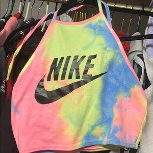 Pressed Nike tye dye crop top & cotton shorts